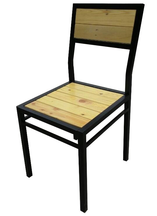 Ghế quán cafe chân sắt đệm gỗ GCFSat02