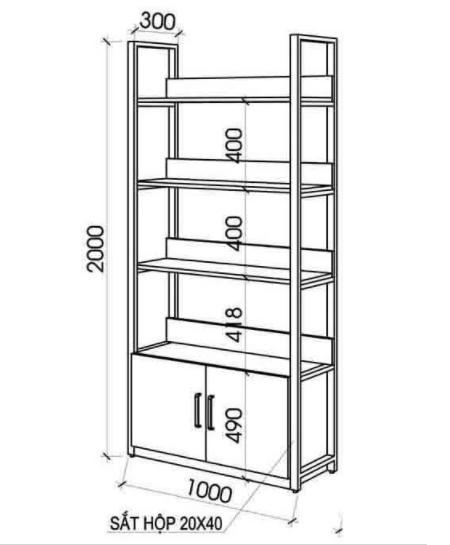 Mẩu tủ kệ để sách TKS01