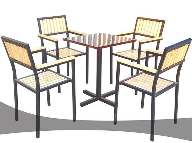 Bộ bàn ghế cafe giá rẻ khung sắt mặt gỗ CF001D