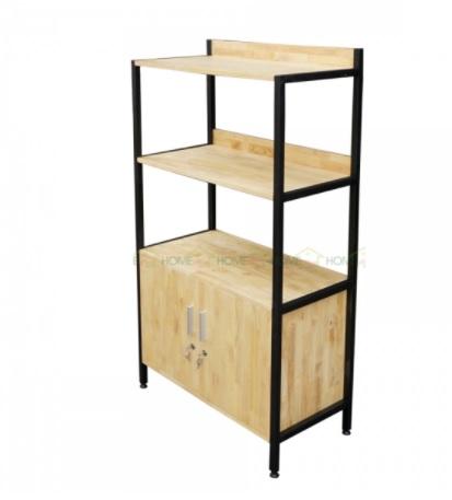 Tủ kệ bằng sắt đợt gỗ TKS02